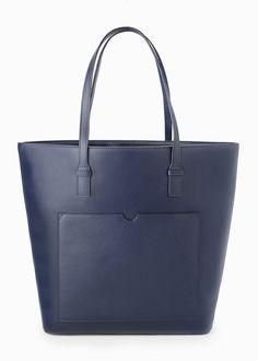Saffiano-effect shopper bag