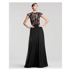 Women's Elie Saab Cap-Sleeve Lace-Bodice Gown