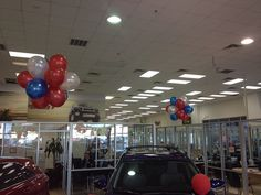 With Balloons - Balloon Man LLC #Balloonart #ballooncreations  Our service creates dramatic and beautiful configurations of balloons which are only inflated with air; then we hang them from your showroom ceiling using a nearly invisible line. Our Balloons are kept flying for three weeks at a time before they need to be replaced.