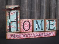 Wooden Home Decor Blocks  HOME by Memoriesoffaith on Etsy, $27.00