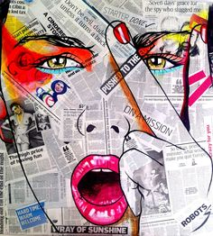 Resultado de imagem para como on to me pop art painting Collage Kunst, Art Du Collage, Arte Pop, Art And Illustration, Background Cool, Journal D'art, Tableau Pop Art, Illustrator, Newspaper Art