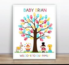 Circus  Baby Shower Printable Thumbprint Tree Guest by ByYolanda