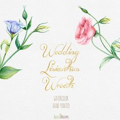 Watercolor Wedding Wreath Lisianthus Flowers Hand от ReachDreams