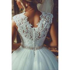 V neck wedding dress ❤ liked on Polyvore featuring dresses and wedding dresses
