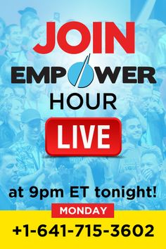 Empower Hour goes live soon!    Connect here to join us and discover exactly how to build your successful freedom lifestyle business.  Dial in for FREE here: +1-641-715-3602