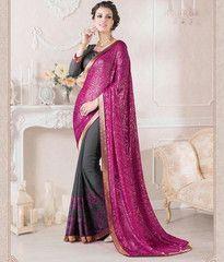 Grey & Magenta Color Half Georgette & Half Brasso Party Wear Sarees : Ruprani Collection YF-27439