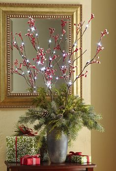 Snow Covered Holiday Berry Lighted Branches | eBay