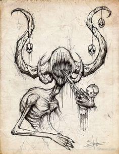 DC's The Devil's Muse: Artist Spotlight – Shawn Coss Creepy Drawings, Dark Art Drawings, Creepy Art, Cool Drawings, Drawing Sketches, Drawing Ideas, Horror Drawing, Horror Art, Weird Tattoos