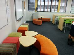 St Aloysius Senior School College Library, Milsons Point Sydney. Clever use of colour, space and resources