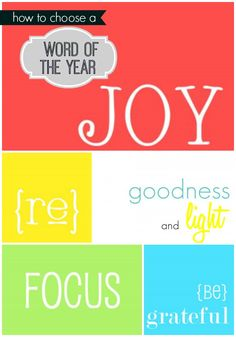 How to Choose a Word of the Year. New year's resolutions!
