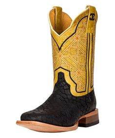 Look what I found on #zulily! Black Puzzle Leather Cowboy Boot by CINCH EDGE #zulilyfinds