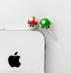 Nintendo Mario Mushroom Pluggy iPhone Earphone Dust Plug $8.00