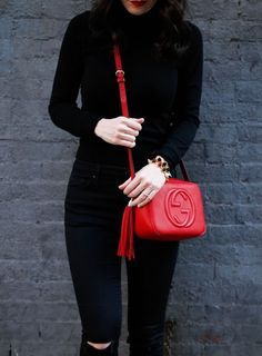 Gucci Soho Disco Bag in red.