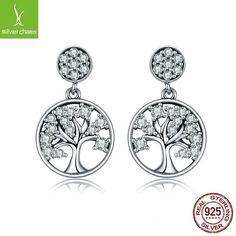 Silver 925 Sterling Tree Of Life ,Aaa Zircon Drop Earring For Women Fine Jewelry