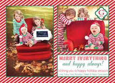 CUSTOM HOLIDAY christmas card... Need to take out grandmoma s red couch outside for pictures