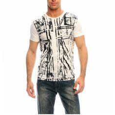 Richmond T-Shirt in cotone con fantasia astratta e strassbianco e nero, lavare 30