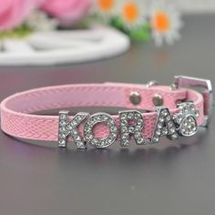Name Pet Collar- Bling Rhinestone This Personalized Dog Collar with Rhinestone Buckle Design is considered to be one of the fashionable custom dog collars. Custom Dog Collars, Cat Collars, Pet Memorial Jewelry, Gifts For Pet Lovers, Leather Collar, Pet Names, Pet Puppy, Pet Memorials, Dog Paws