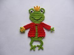 Häkelapplikationen - Froschkönig - Häkelapplikation - ein Designerstück von Spielkiste bei DaWanda
