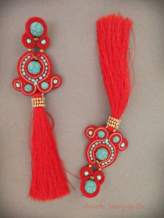 Red Turquoise Long Soutache Tassel Earrings, Extra Long Stud clip on Fringe Earrings, Soutache Jewelry, Silk Tassel, Red Earrings Pendientes Soutache Rojo Turquesa Borla Pendientes Largos Long Tassel Earrings, Soutache Earrings, Fringe Necklace, Red Earrings, Tassel Jewelry, Jewlery, Red Turquoise, Turquoise Beads, God's Eye Craft