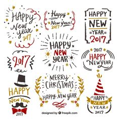 New year collection of hand-drawn labels Premium Vector - Marin Youhouse Lee Happy New Year Cards, Merry Christmas And Happy New Year, Logo Noel, New Year Doodle, Notebook Sketches, Calligraphy Words, Christmas Chalkboard, Monthly Themes, Cute School Supplies