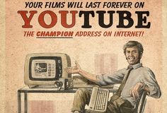 Retro Ads for YouTube, Facebook, and Skype...would look great framed in the game room