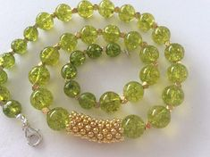 Olive Quartz and Gold Gem Bead Necklace