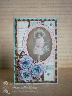 "Ретро открытка ""Девочка с цветами"" Retro Card: Girl and flowers. Vintage look. Paper flowers. Brown, blue, purple. Distressing, crackle, machine stitching, die-cutting."