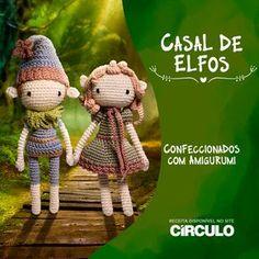 Muita imaginação e uma agulha na mão são suficientes para ir longe nas criações com o fio Amigurumi. Clique na foto e confira a receita completa deste Casal de Elfos superfofo! Crochet Doll Tutorial, Crochet Doll Pattern, Diy Crochet, Crochet Dolls, Crochet Baby, Doll Patterns, Knitting Patterns, Crochet Patterns, Amigurumi For Beginners