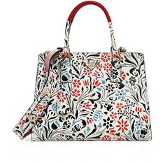 Prada Floral Calf Leather Double-Zip Tote ($3,080) ❤ liked on Polyvore featuring bags, handbags, tote bags, white tote bag, white purse, tote handbags, prada tote bag and handbag purse