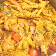 Learn how to cook Curry Chicken feet with our Jamaican curry chicken feet recipe. This uncommon but tasty dish is one that you should try if you want to Jamaican Steamed Cabbage Recipe, Jamaican Curry Chicken, Curry Shrimp, Chicken Curry, Keto Chicken, Jamaican Cuisine, Jamaican Recipes, Chicken Foot Soup Recipe, Chicken Recipes