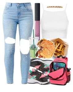 222. - Lunch Before Class : College Edition. by janiyah-michelle on Polyvore featuring Topshop, NIKE, Victoria's Secret PINK and NARS Cosmetics