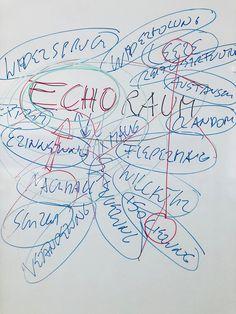 Echoraum - Widerspruch - Wiederholung - Extrem - Austausch - Random - Leere - Reizüberflutung - Erinnerung - Nachhall - Isolierung - Veränderung - Schrei - Random - Flerdermaus - Zufall