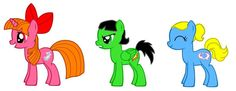 MLP Powerpuff Girls there  cutie marks are ice breath, bom pow punches, a dolphin