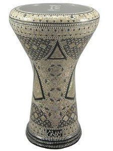"""17"""" Mother of Pearl Doumbek Drum Gawharet El Fan Darbuka by Gawharet El Fan. $249.00. 17"""" Mother of Pearl Doumbek Drum Gawharet El Fan Darbuka : This is a beautiful new 17"""" darbuka. Comes with a clear synthetic head and a premium case. This drum is a top quality drum with shiny shells Egyptian decorations. The Beautiful and intricate inlay of real mother of pearl and the beautiful shiny patterns, make this drum a real work of art. Covered with real mother of pearl..."""