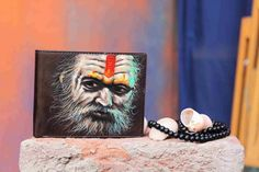 Agohri Saint Hand Painted On Men's Leather Wallet By VKALART