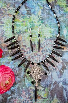 Black Metal Necklace and Earring Set Tribal by LaMirraFashion, $16.01