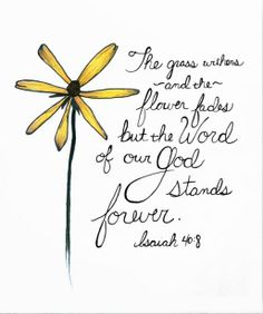 The grass withers and the flowers fade but the word of our God stands forever.  ~ Isaiah 40:8 >> By Angela Lamb