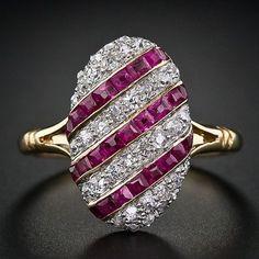 Edwardian Ruby & Diamond Ring-c1900