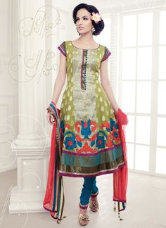 Pretty Green And Blue Anarkali Suit