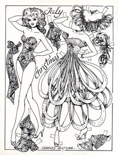 We all received a goody bag of wonderful B&W paper dolls as well.  This one in the Xmas theme is by the late Charles Ventura.