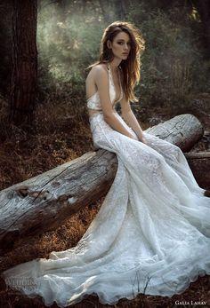 galia lahav gala 4 2018 bridal sleevelesss halter deep plunging v neck full embellishment sexy a  line wedding dress open back chapel train (908) mv -- Gala by Galia Lahav 2018 Wedding Dresses