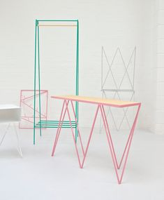 Collection of furniture by British-Finnish design duo of &New, Jo Wilton and Mirka Grohn.