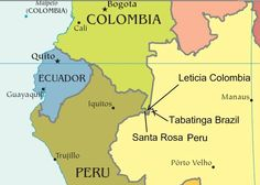 Leticia Colombia, Tabatinga Brasil, Santa Rosa Peru