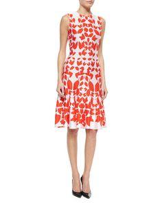 B2XCV St. John Collection Mirrored Floral Jacquard Knit Dress