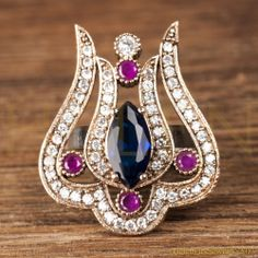 Hurrem Sultan Ring Tulip Ruby Sapphire Turkish Jewelry 925 Sterling Silver