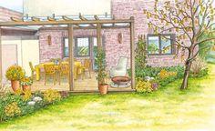 Ein Garten – zwei Ideen: Eine Terrasse wird mit viel Gelb auf der Sonnenseite und mit zarten Frühlingsboten im Garten neu gestaltet. (Pflanzplan als PDF zum Herunterladen und Ausdrucken)