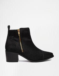Faith Sibu Black Pony Effect Flat Boots