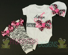 PERSONALIZED Layette Newborn COMING HOME by FroggytaleDesigns, $53.00
