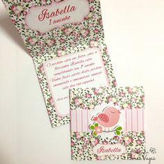 convite artesanal infantil personalizado jardim encantado passarinho passarinhos flora rosa delicado menina 1 aninho festa