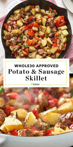 Easy Hearty and Healthy approved Potatoes and Sausage Skillet. Need recipes and ideas for your whole 30 dinners and meals? This easy cast iron skillet meal is great for breakfasts or dinners is simple to make and cheap and budget friendly. Pork Sausage Recipes, Paleo Recipes, Healthy Dinner Recipes, Whole Food Recipes, Cheap Recipes, Dinner Recipes For Two On A Budget, Simple Recipes For Dinner, Meal Ideas For Dinner, Paleo Casserole Recipes